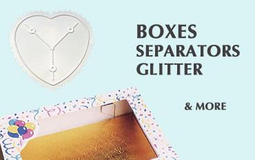 Cake boxes, cake separators, cake glitter
