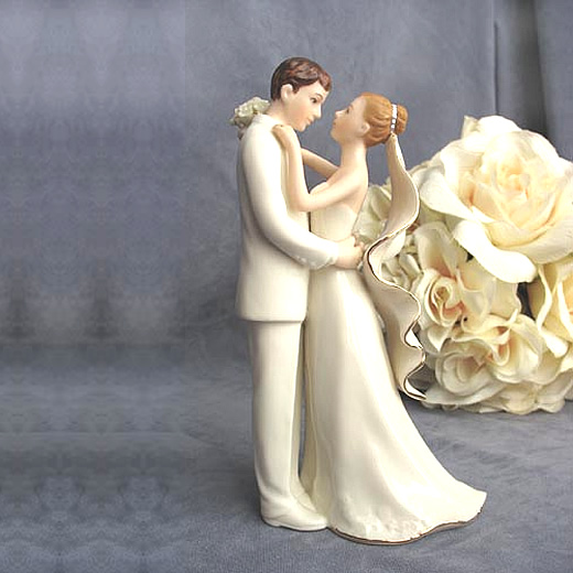 off white bride and groom cake topper