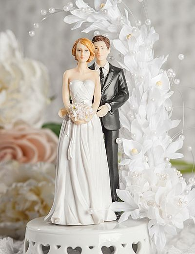 Mix and MAtch Bride and Groom Calla Lily Arch Wedding Cake Topper