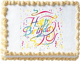 Happy B-Day Ribbons Edible Image