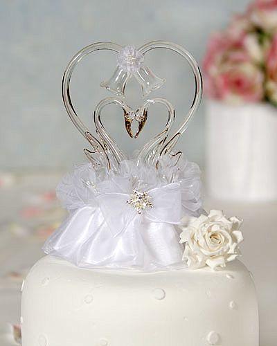 Gold Glass Swans Heart
