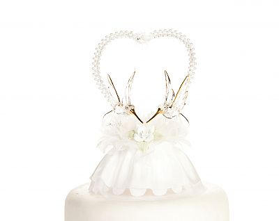 pearl heart wedding cake topper hummingbirds with pearl justcaketoppers 18164