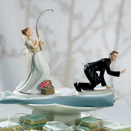 gone fishing bride or groom cake topper