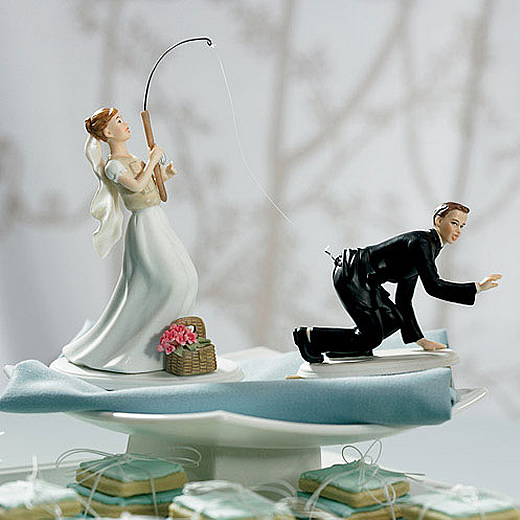 gone fishing bride or groom cake topper