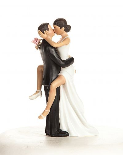 Funny Sexy African American Wedding Bride and Groom Cake Topper Figurine2