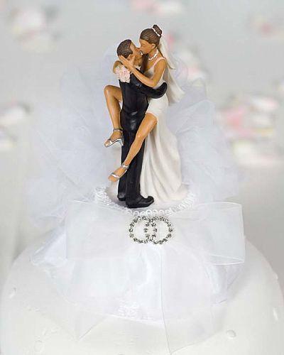 Funny Sexy Rhinestone African American Wedding Rings Cake Topper