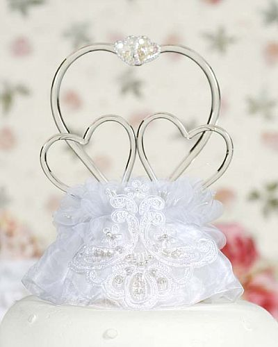 Glass Hearts Vintage Applique Cake Topper
