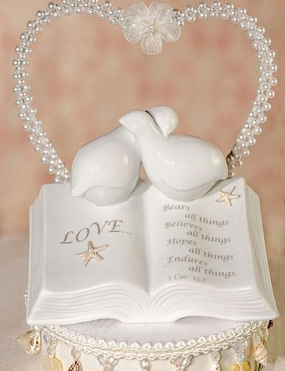 Love Verse Bible Cake Topper with Doves and Starfish Beach Accents