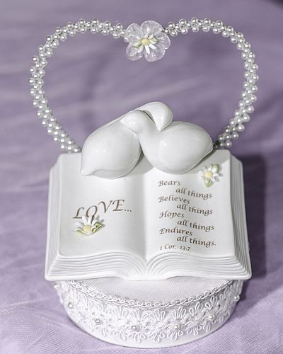 Love Verse Bible Cake Topper with Doves and Daisy Accents