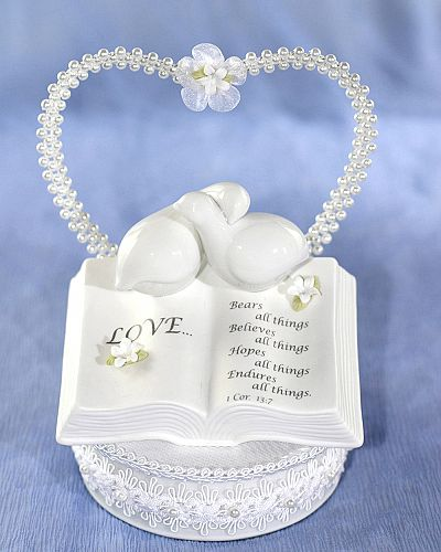 Love Verse Bible Cake Topper with Doves and Stephanotis Accents