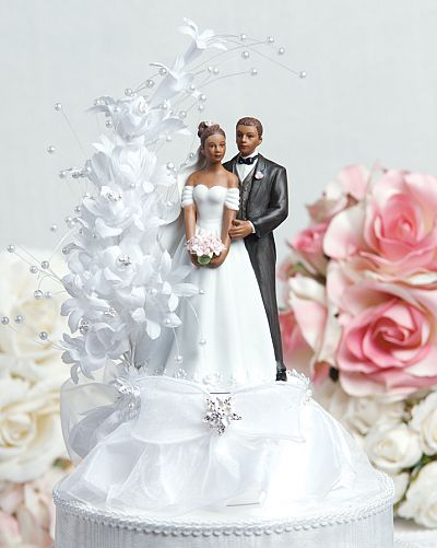 Pearl Side Arch African American Cake Topper