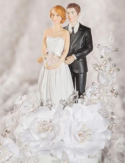 Mix and Match White Velvet Rose Wedding Cake Topper