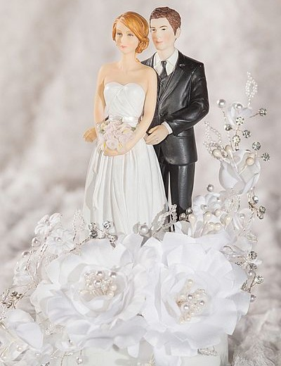 Mix and Match White Velvet Rose Wedding Cake Topper