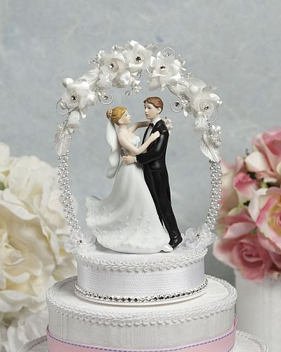 Sweet Flower and Crystal Arch Cake Topper