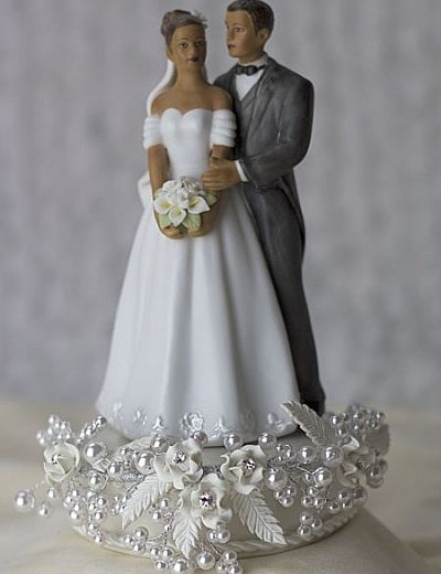 Rose and Pearls Elegant African American Cake Topper