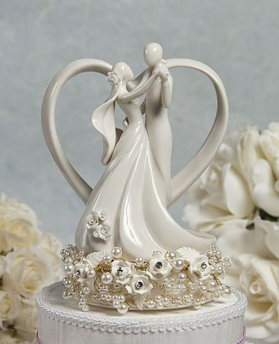 Vintage Rose Pearl and Heart Wedding Cake Topper
