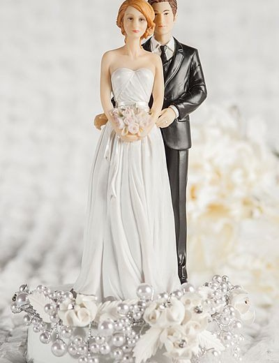 Rose Pearl Mix and Match Bride and Groom Wedding Cake Topper