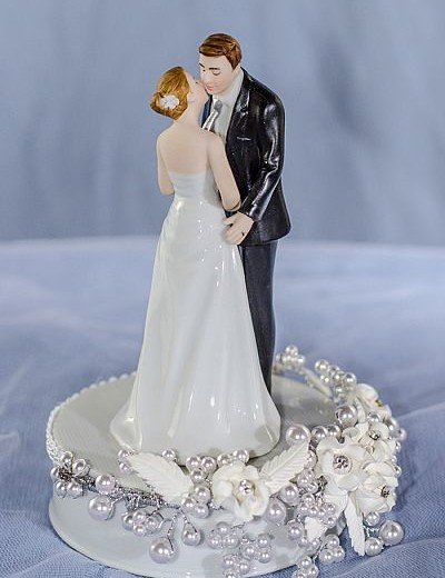 """""""Tie(ing) the Knot"""" Rose Pearl Wedding Cake Topper"""