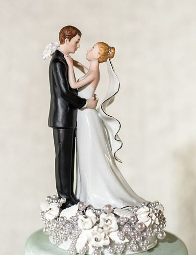 White and Silver Vintage Rose Pearl Wedding Cake Topper