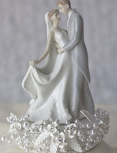 Rose and Pearls First Kiss Wedding Cake Topper