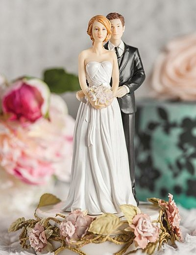 Paper Roses Mix and Match Bride and Groom Wedding Cake Topper