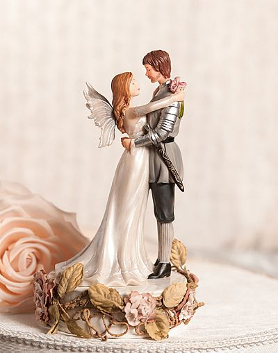 Paper Roses Fantasy Fairy Wedding Cake Topper