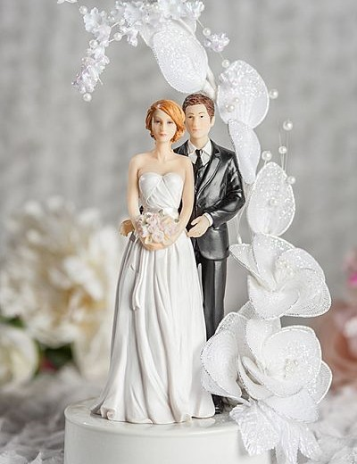 Mix and Match Bride and Groom Vintage Glitter Flower Arch Wedding Cake Topper