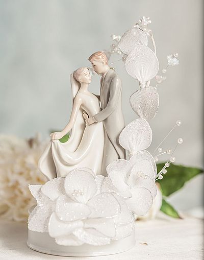 Dancing Bride and Groom Vintage Glitter Flower Wedding Cake Topper