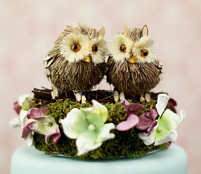 """I'll Look Out For You"" Owl Wedding Cake Topper"