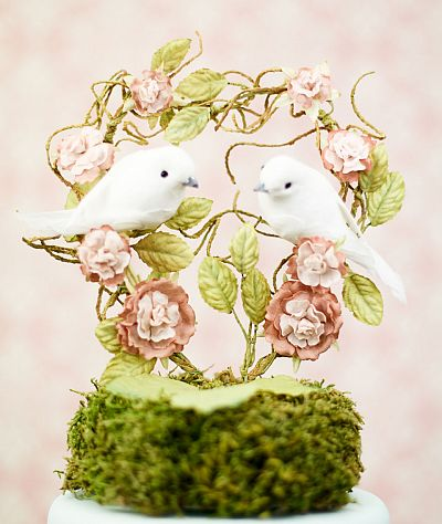 """You Landed on my Heart"" Dove Wedding Cake Topper"