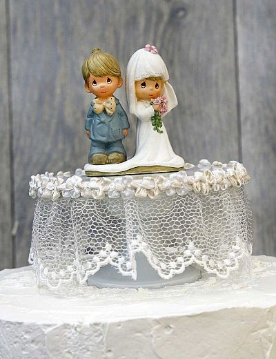 Precious Moments Lace Wedding Cake Topper