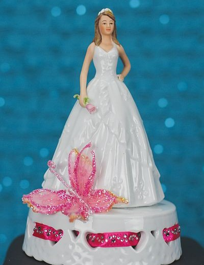 Butterfly Princess Quinceañera Cake Topper