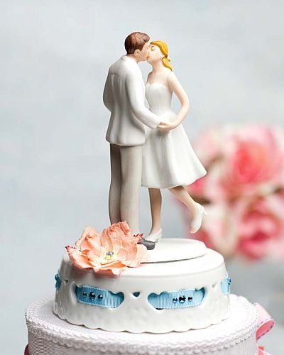 "Adorable ""Leg Pop"" Ribbon Accent Wedding Cake Topper- Custom Colors!"