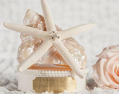 Engraveable Sea Shell Wedding Cake Topper