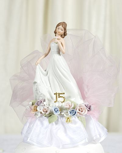 Pastel Rose Porcelain Quinceanera - Sweet Sixteen Cake Topper