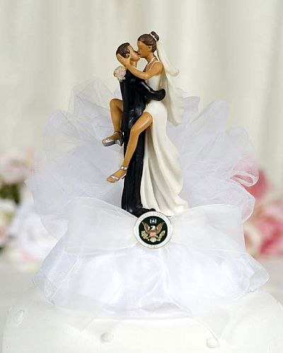 Military Sexy African American Cake Topper