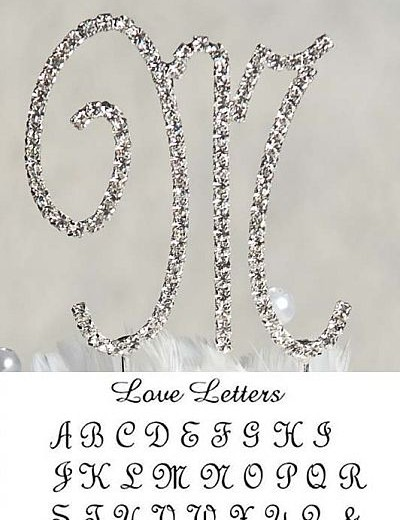 Small Full Crystal Monogram Silver Initial Cake Topper Set with Swarovski Crystal