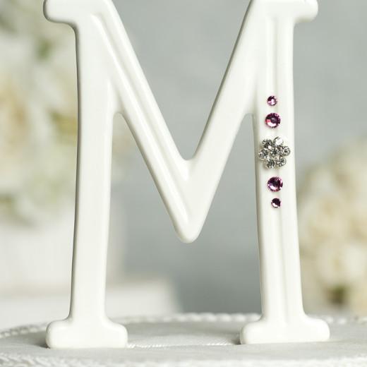 Crystal Florette Accented Porcelain Monogram Cake Topper