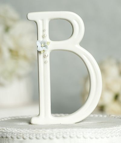 Hydrangea and Pearls Accented Porcelain Monogram Cake Topper