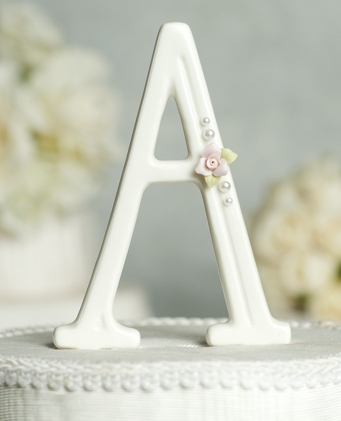 Rose And Pearls Accented Porcelain Monogram Cake Topper