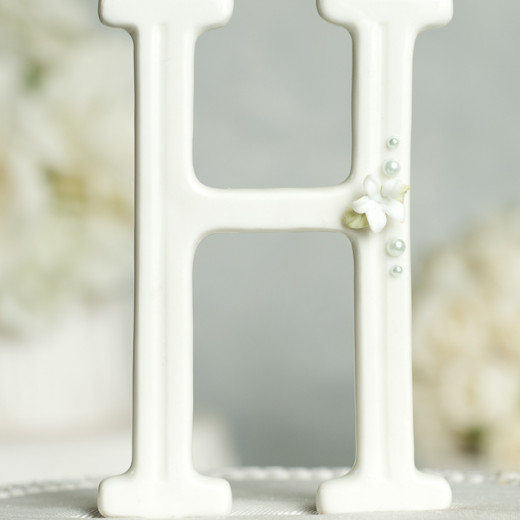 Stephanotis and Pearls Accented Porcelain Monogram Cake Topper