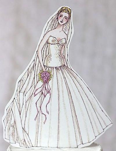 Ballroom Beauty Paper Doll Bride Wedding Cake Topper