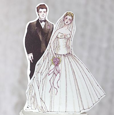 Ballroom Beauty Paper Doll Mix and Match Bride and Groom Wedding Cake Topper