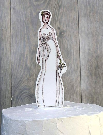 Chic Bride Paper Doll Mix and Match Wedding Cake Topper