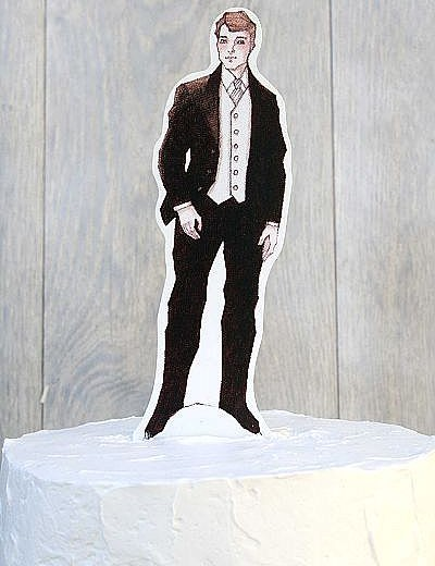 Formal Groom Paper Doll Mix and Match Wedding Cake Topper