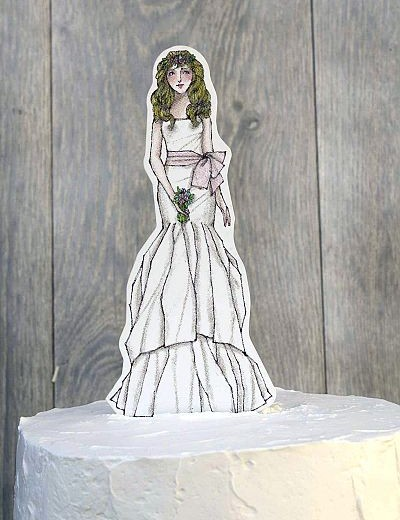 Bohemian Bride Paper Doll Mix and Match Wedding Cake Topper