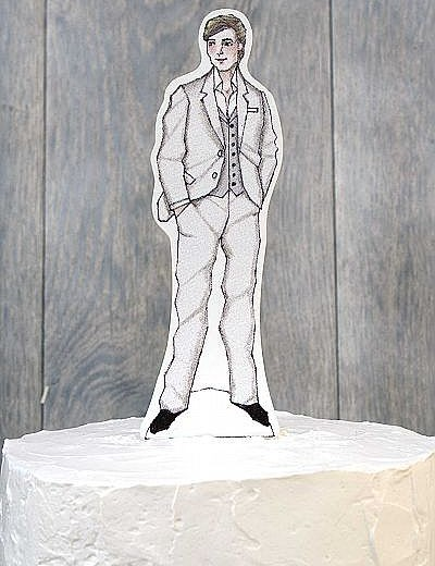 Casual Paper Groom Doll Mix and Match Wedding Cake Topper