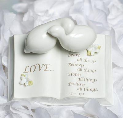 Love Verse Bible with Doves and Stephanotis Accents Wedding Cake Topper