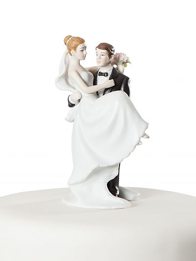 Traditional Groom Holding the Bride Cake Topper