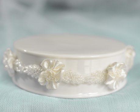 Beaded Ribbon Flower Trim Porcelain Base